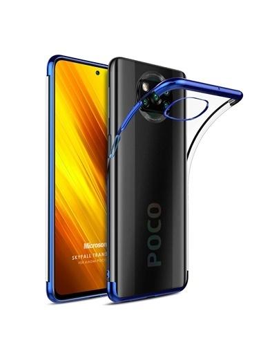Microsonic Xiaomi Poco X3 Pro Kılıf Skyfall Transparent Clear Gold Mavi